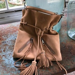 Rebecca Minkoff tan crossbody bag/tassels